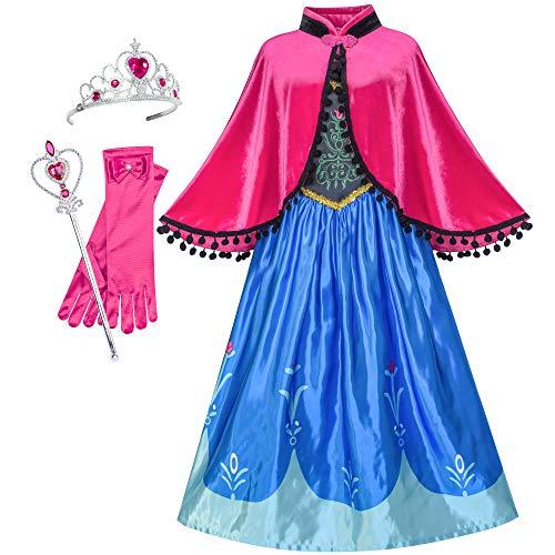 Sunboree Prinzessin Kleid Anna Kostüm Zubehör Krone Zauber Zauberstab Gr. 122 (Gefrorene Prinzessin Anna Kostüm)