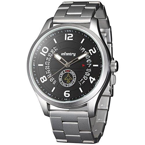 INFANTRY® Herren Analoges Quarzwerk Armbanduhr Datum Day Outdoor Leuchtende Flieger Siber Edelstahl Armband