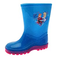 Kids Girls Disney Frozen Wellington Boots Rubber Rain Snow Blue Pink Glitter Wellies Wellys Childrens Shoes Size UK 6