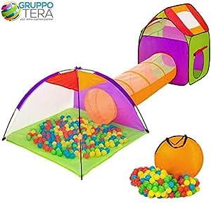 Bakaji igloo tente pour les enfants avec 200 balles + tunnel + Casetta jouer Tente avec des boules de bébé, système POP-UP Pliable, peu encombrant