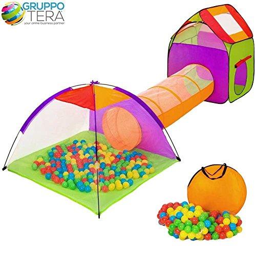 BAKAJI Tenda Igloo per Bambini con 200 Palline + Tunnel + Casetta Tenda da Gioco con Palline per Bambino Pieghevole Sistema Pop-UP Salvaspazio