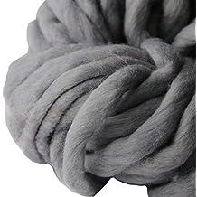 VDK Chunky Yarn, super morbido ingombranti Roving filato di lana pettinata braccio a maglia, filo intrecciato a mano grigio scuro