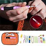 Somedays LED Beleuchtet Häkelhaken Set 38 Stück Bunte Ergonomische Häkeln Stricken Nadeln mit tragbaren Tasche und Zubehör Kit für Haushalt Werkzeug mit tragbaren Tasche,Wiederaufladbar, mit Batterie