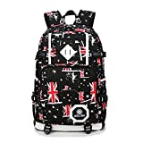 Youtumall Canvas British Flag Union Jack Backpack for Students Teenage Boys'/Girls' Rucksack Traveling Bags Laptop Bag (Black)