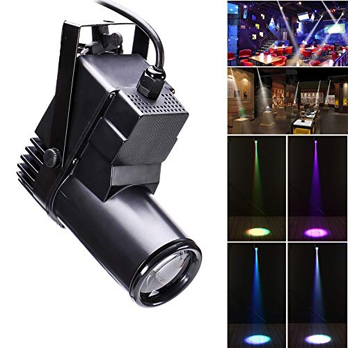 U'King Bühnenlicht LED, 30W RGBW Sound-active/DMX512 Steuerung ABS Scheinwerfer für Home Decor DJ Disco Club Bar KTV Party Weihnachten (black)