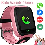 Kids Smart Watch Phone, GPS Tracker Smart Wrist Watch for 3-12 Year Old Boys Girls with SOS Camera Sim Card Slot Touch Screen Game Smartwatch Outdoor Activities Toys Childrens Day Gift (Pink-S4)