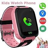 Smart Watch Phone per bambini, LBS Tracker Smart Wrist Watch per 3-12 anni Ragazze con SOS Camera Sim Card Slot Touch Screen Gioco Smartwatch Attività all'aperto Giocattoli Regalo per bambini (Pink)