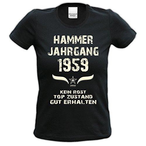 Damen Kurzarm T-Shirt Girlie-Shirt :-: Geschenk zum 58. Geburtstag :-: Hammer Jahrgang 1959 :-: Geschenkidee für Frauen Sie Mama Oma :-: schwarz-01
