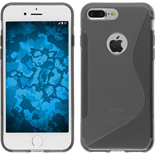 PhoneNatic Case für Apple iPhone 8 Plus Hülle Silikon schwarz S-Style Cover iPhone 8 Plus Tasche + 2 Schutzfolien Grau