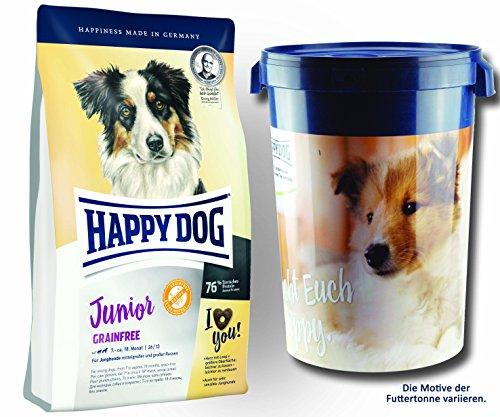2 x 10 kg + Futtertonne 43 Liter Happy Dog Supreme Junior Grainfree