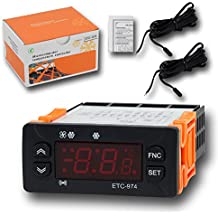 Controlador de temperatura, risepro termostato Digital calibración de temperatura y alarma de temperatura con longitud 2M sensor de temperatura sonda