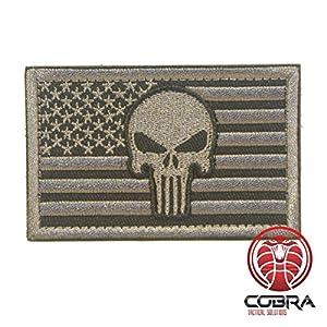 Cobra Tactical Solutions Punisher Tête de Mort à Broder Tactique armée Badge US Drapeau Patch Argent avec Crochet et Passant Airsoft
