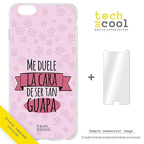 Funnytech Cover Meizu M5S Custodia in Silicone (TPU) per Meizu M5S [Design Esclusivo, Stampa ad Alta Definizione] [Frase Me duele la Cara Fondo Rosa]