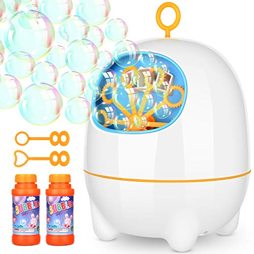 (Elover Seifenblasenmaschine für Kinder USB-Aufladung Blase Maschine Cartoon-Stil Bubble Machine Indoor und Outdoor Bubble Maker Spiele Zwei Levels Geschwindigkeit Perfekt für Partys Hochzeit)