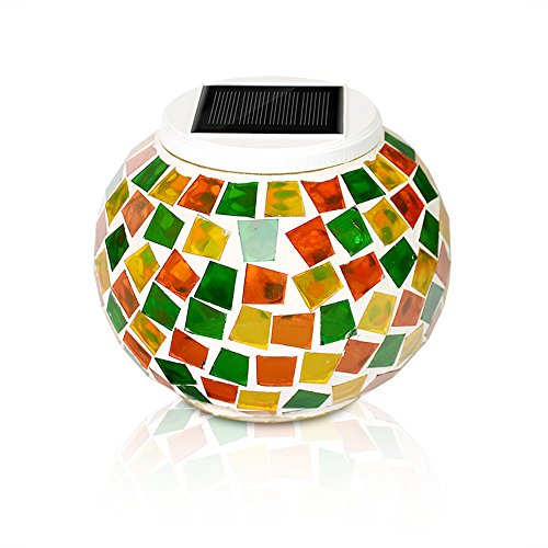 Mosaic Solar Light, KASIMO Led Solar Ball Table Light, Waterproof & Color changing Glass Night light for Outdoor/Indoor Decoration, Bedroom, Party, Garden, Christmas Day, Prefect Present for Adult and kids