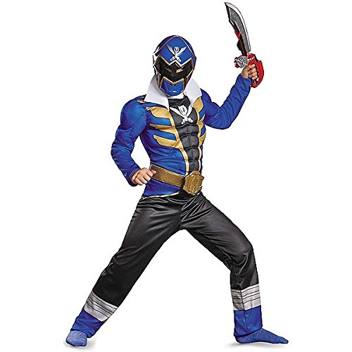 Blau Ranger Super Megaforce Classic Muscle Child Kostüm (Power Samurai Kostüm Ranger)