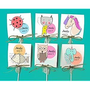 Einladungskarten zum Geburtstag - Tiere- inkl. Lollies