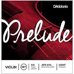 D'Addario J810-4/4LPrelude - Set de cuerdas para violín (4/4, níquel y fibra de carbono, tensión baja)