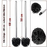 2er Set XXL Toilettenbürste schwarz mit langen Edelstahl Stiel 60 cm Ersatz WC Bürste mit austauschbaren WC Bürstenkopf