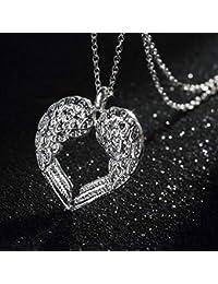 Zirkonia Strass Herzkette Halskette Herz Anhänger Kette 18 Karat Weißgold pl