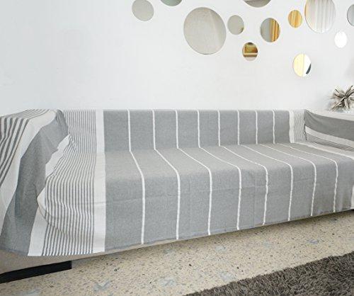 Jeté de canapé - plaid canape grande taille gris clair (greige) rayé blanc - 100% coton - Modèle Byblos - 300x200cm - Jeté de canapé pas cher - Plaid canapé 3 places