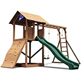 Dunster House MaxiFort Frontier Wooden Children's Outdoor Climbing Frame with Monkey Bars, Swings & Slide - Pressure Treated Timber