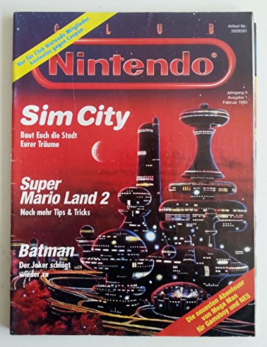 Club Nintendo Magazin SNES Super Nintendo NES GB (u.a. über Sim City Super Mario Land 2 Batman Zelda Joe & Mac Mystic Quest Legend Mega Man IV ) Spieleberater Zeitschrift Ausgabe 1 Feb 1993