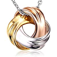 18K White Gold and Rose Gold Plated 925 Sterling Silver Necklace SPIRAL GALAXY Pendant for Women Ladies Girls Females Exquisite Gift Package J.Rosée  Jewelry JR194