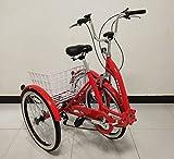 QUALITY Triciclo per Adulti di qualità, Bicicletta a Tre Ruote, Telaio Pieghevole, Cambio Shimano a 6 Marce, Telaio in Lega, sospensioni Anteriori (Rosso)