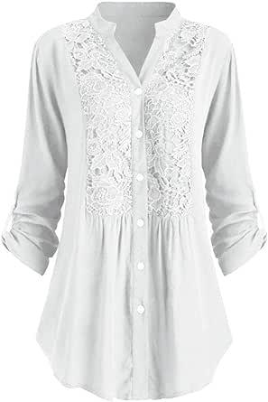 Nanxson Donna Camicia Manica Lunga Bluse Elegante Camicie retrò Blusa Bottone Top Volant Camicetta