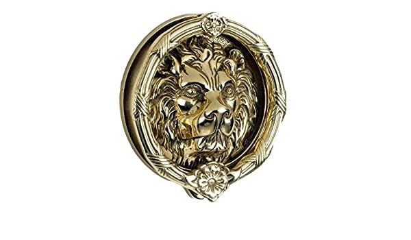 Sandringham/' Large Polished Brass Lion Knocker