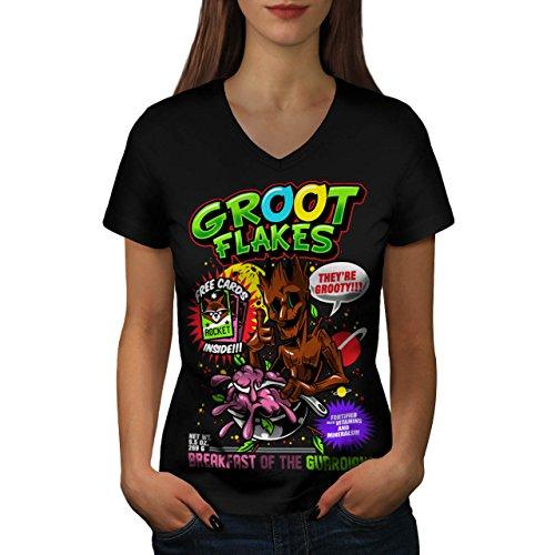 Kostüm Weiblich Groot (Groot Flakes Comic Müsli Held Damen M V-Ausschnitt T-shirt |)