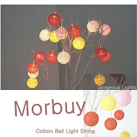 Led Lichterkette, Morbuy Kugel Lichterkette 6CM Baumwoll Kugel Batterie LED