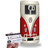 Case88 [Samsung Galaxy S6 Edge Plus] 3D impresa Carcasa/Funda dura para & Tarjeta de garantía - Art Fashion Red Retro Bus Mini Van