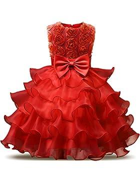 NNJXD Mädchen Kleid Kinder Rüschen Spitze Party Brautkleider