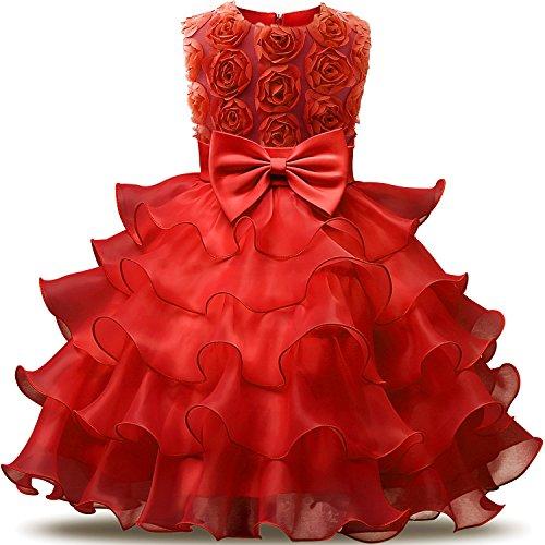 NNJXD Mädchen Kleid Kinder Rüschen Spitze Party Brautkleider Größe(130) 5-6 Jahre Blumen Rot - Brust 6 Jahren