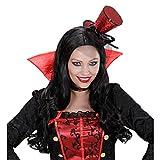 NET TOYS Mini cilindro da burlesque cappello su nastro nero rosso can can ballerina lustrini accessorio costume