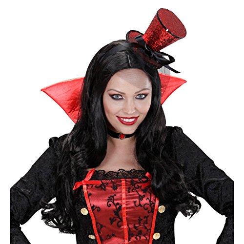 Mini Zylinder Burlesque Minihut am Bügel mit Schleier rot Tänzerin Miniatur Hut Can Can Girl Minizylinder Glitzer Zylinderhut Fascinator Kostüm (Glitzer Girl Kostüm)