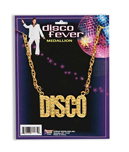 Halskette Medallion Kostüm Gold - Disco Necklace 70s 80s 90s Gold Medallion Chain Necklace Disco Fever Fancy Dress