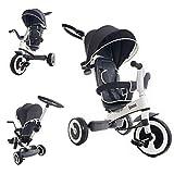 FJESSA 4in1 Dreirad Kinderdreirad Kinderwagen Buggy Kinder Dreirad Schubstange Elternlenkung Sonnendach Elternlenkung ab 9 Monate
