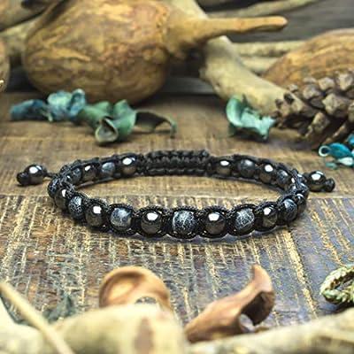 Bracelet Homme Taille 19-20cm style Shamballa perles Ø6mm Pierre de gemmes naturelle Agate Toile d'araignée Hématite style Tibétain Made in France BRATOILI17