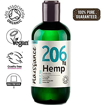 Naissance Organic Cold Pressed Hemp Seed Oil 250ml – Certified Organic, Vegan, Unrefined. Rich in Omega 3, 6 and 9 from Naissance