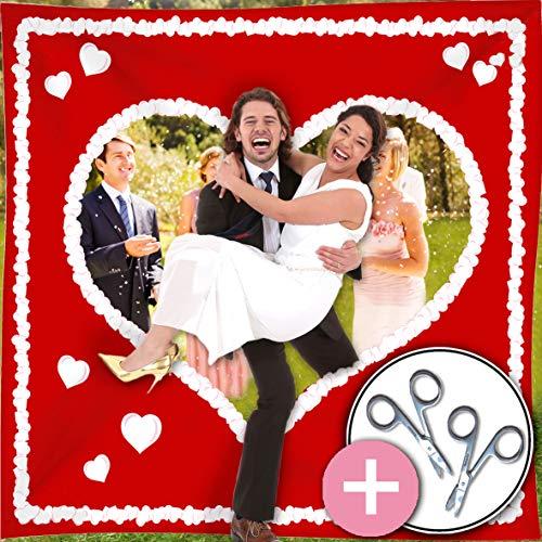 galleryy.net Hochzeitsherz zum Ausschneiden Just Married | rot mit weißem Herz & Schlaufen INKL 2 Scheren