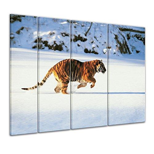 Bilderdepot24 Immagine su telaio a cunei Tigre - 180 x 120 cm set 4 pezzi - Già montato sul telaio, Stampa artistica intelaiata e pronta da appendere