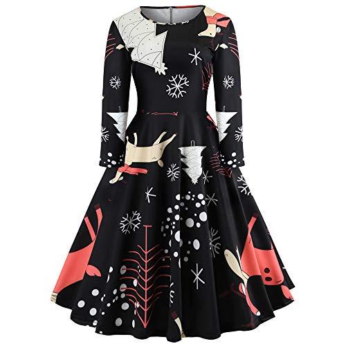 ODJOY-FAN Mode Weihnachten Drucken Kleid, Langarm O Ausschnitt Kleid Jahrgang Kleid Mode Eine-Linie...