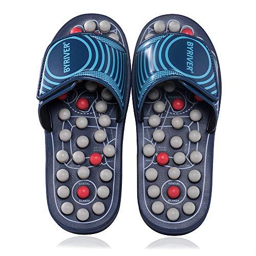 BYRIVER Masajeador de pies de acupresión, piedra de jade para acupunto, zapatos de masaje Reflexología, sandalias para hombres y mujeres
