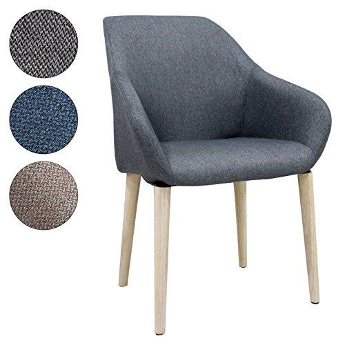 SVITA Polsterstuhl Stuhl Küchen-Stuhl Stoff Holz-Beine Retro Vintage Stil Esszimmerstuhl bequem (grau, S1)