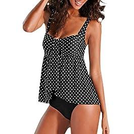 beautyjourneylove Tankini Costume da Bagno Donna Taglie Forti Push up Tankini Donna Mare Costumi da Bagno Due Pezzi Sexy Tankini Bikini Donna Plus Size Trikini Costumi da Bagno Donna Bikini Set Donna