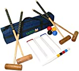 Croquet Set Full Size 4 Player Set with Hardwood Mallets, Winning Post, Thick Steel Hoops and 12 Ounce Plastic Balls in a Luxury Storage Bag