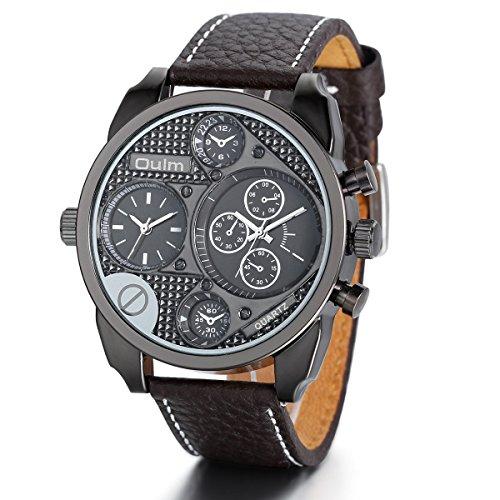 Regalo de papá Día del padre Jewelrywe Grande Reloj de caballero deportivo, 3 ojos de decoración, 2 husos horario, Hombre reloj de cuero, Marrón